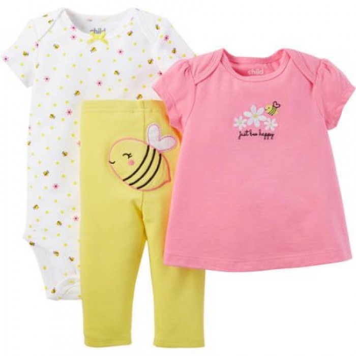 a1794eb4b 3 pcs Baby Girl T-Shirt, Bodysuit, and Pant Outfit Set by Child of Mine by  Carters - Nice and Affordable