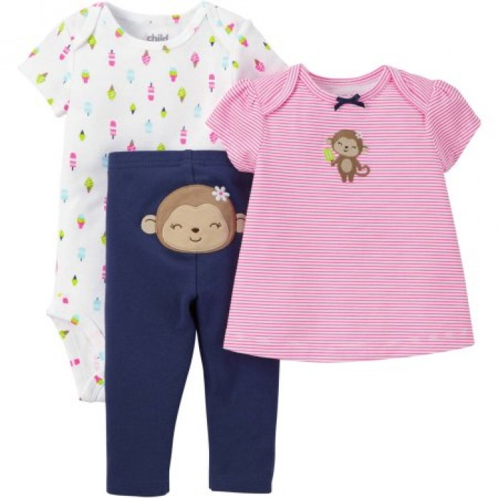 66908cdbb656 3 pieces T-Shirt, Bodysuit, and Pant Outfit Set by Child of Mine by Carters