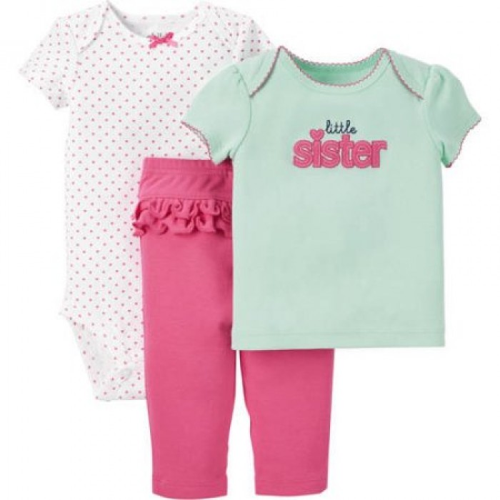 506c35db25b1 3 pieces T-Shirt, Bodysuit, and Pant Outfit Set by Child of Mine by Carters  Green