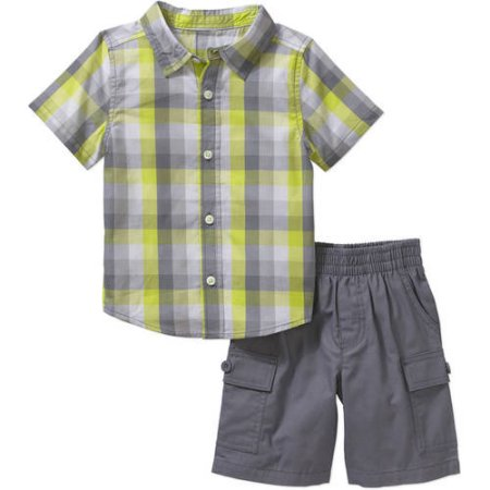 c9d1616ce Boy Short Sleeve Button Down Shirt and Cargo Short 2-piece Outfit Set  Healthtex - Nice and Affordable