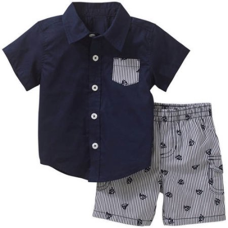 Boys Short Sleeve Button Down Shirt and Cargo Short 2-piece Outfit Set by  Healthtex - Nice and Affordable